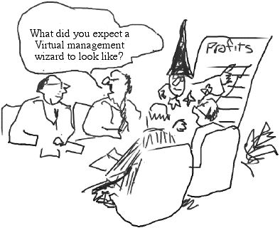 Cartoon of wizard advising business managers